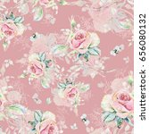 seamless rose pattern and... | Shutterstock . vector #656080132