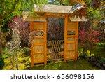 a gateway in a flower garden | Shutterstock . vector #656098156