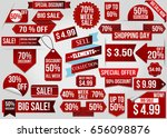 sale red discount elements and... | Shutterstock .eps vector #656098876