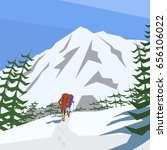 climbers climb the mountain...   Shutterstock .eps vector #656106022