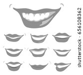 lovely grey smiles set ... | Shutterstock . vector #656108362