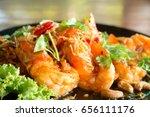tasty deep fried prawns with... | Shutterstock . vector #656111176