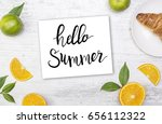 white wooden board with food... | Shutterstock . vector #656112322