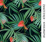 vector tropical flowers and...   Shutterstock .eps vector #656112442