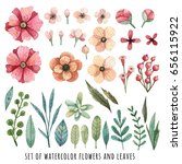 set of watercolor flowers and... | Shutterstock . vector #656115922