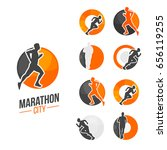 city marathon branding with run ... | Shutterstock .eps vector #656119255