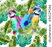 exotic background with parrots... | Shutterstock .eps vector #656129266