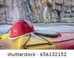 whitewater kayaking helmet on a ...   Shutterstock . vector #656132152
