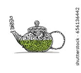 teapot sketch with green tea...   Shutterstock .eps vector #656136442