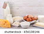 dairy products on wooden table. ... | Shutterstock . vector #656138146
