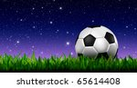 football in green grass over a twilight sky - stock photo