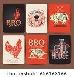 vintage bbq set banner.... | Shutterstock .eps vector #656163166
