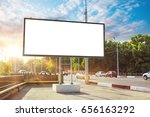 billboard canvas mock up in... | Shutterstock . vector #656163292