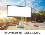 billboard canvas mock up in... | Shutterstock . vector #656163292