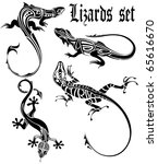 lizards set tattoo | Shutterstock .eps vector #65616670