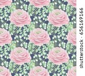 watercolor floral pattern with... | Shutterstock . vector #656169166