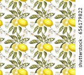 lemon watercolor seamless... | Shutterstock . vector #656179822