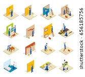 home repair isometric set with... | Shutterstock .eps vector #656185756