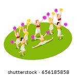 cheerleading dancers with... | Shutterstock .eps vector #656185858