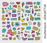 vector patch set   80s 90s... | Shutterstock .eps vector #656187718