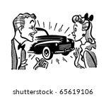 Couple With New Car   Retro...