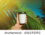 paper cup of coffee to go in... | Shutterstock . vector #656193592