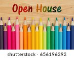 open house text with colorful