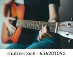 girl playing the music... | Shutterstock . vector #656201092