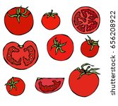 set of fresh red tomatoes. half ... | Shutterstock .eps vector #656208922