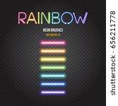 glowing neon lights brushes in... | Shutterstock .eps vector #656211778