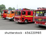 Small photo of Beaulieu, Hampshire, UK - May 29 2017: Vintage Dennis, Mercury and Renault Fire Engines at the 2017 999 show at the National Motor Museum