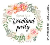 Floral wreath with message Woodland party. Pink flowers and green leaves. Vector illustration. Invitation card design.