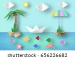summer origami fun art applique.... | Shutterstock .eps vector #656226682