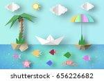summer origami fun art applique.... | Shutterstock .eps vector #656226682