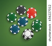 set of casino chips with shadow.... | Shutterstock .eps vector #656227012