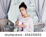 portrait of an attractive... | Shutterstock . vector #656235652