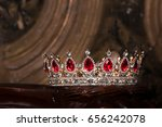 royal crown with red gems. ruby ... | Shutterstock . vector #656242078