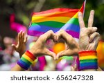 supporting hands make peace and ... | Shutterstock . vector #656247328