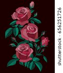red and pink roses bush with... | Shutterstock .eps vector #656251726