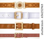 various leather belts buttoned... | Shutterstock .eps vector #656252965