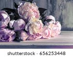 bouquet of peonies  beautiful... | Shutterstock . vector #656253448
