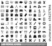 100 pensil icons set in simple... | Shutterstock .eps vector #656257846
