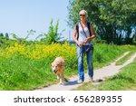 mature woman with a labrador... | Shutterstock . vector #656289355