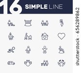 set of 16 people outline icons... | Shutterstock .eps vector #656289862