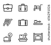 baggage icons set. set of 9... | Shutterstock .eps vector #656291026