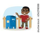african boy sending mail  | Shutterstock .eps vector #656298088