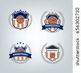 basketball sport logo design... | Shutterstock .eps vector #656302732