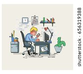 businessman hard working. vector | Shutterstock .eps vector #656319388