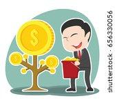 asian businessman harvesting... | Shutterstock .eps vector #656330056