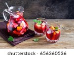red wine sangria or punch with... | Shutterstock . vector #656360536